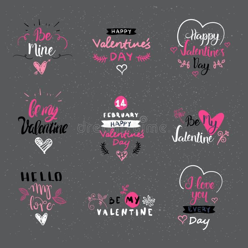 Valentine Day Labels, crachás e ícones, cartões de cumprimentos do amor, grupo de elementos do projeto da tipografia ilustração stock