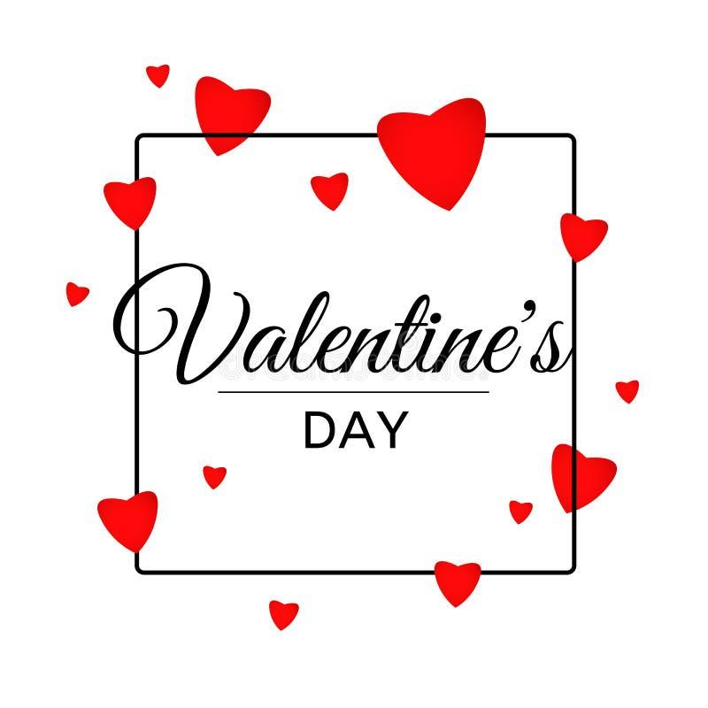 Valentine Day Letters Black Frame felice con cuore royalty illustrazione gratis