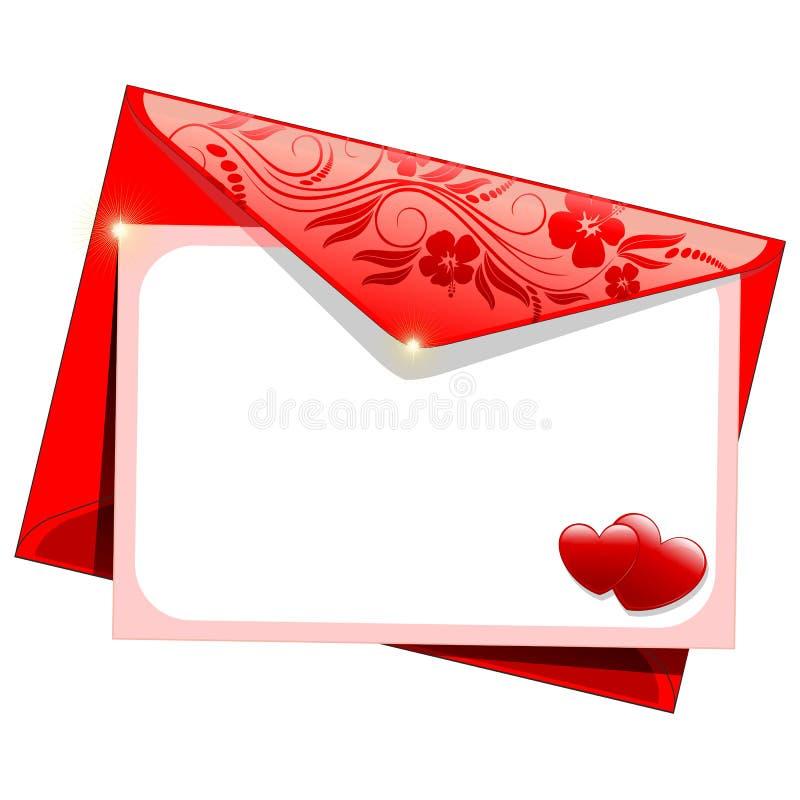 Valentine Day Love Message Card et l'enveloppe avec des coeurs et des fleurs dirigent le fond illustration libre de droits
