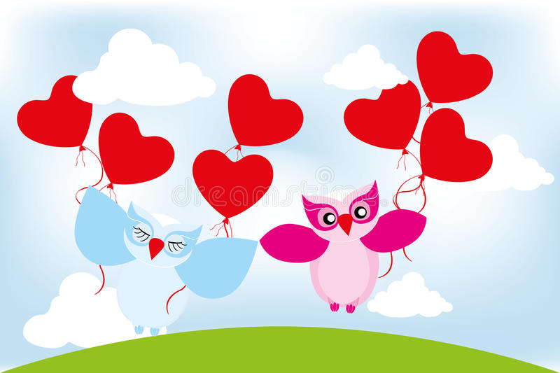 Valentine day lovely owls greeting card. Valentine day lovely owls with balloons greeting card without text vector illustration