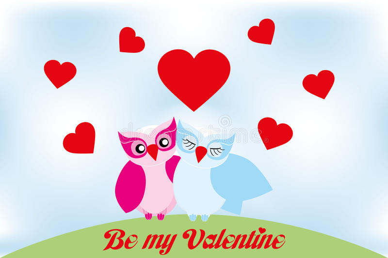 Valentine day lovely owls greeting card. And text be my valentine stock illustration