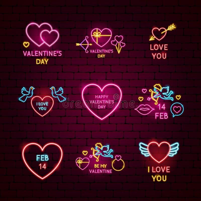 Valentine Day Neon Label Set lizenzfreie abbildung