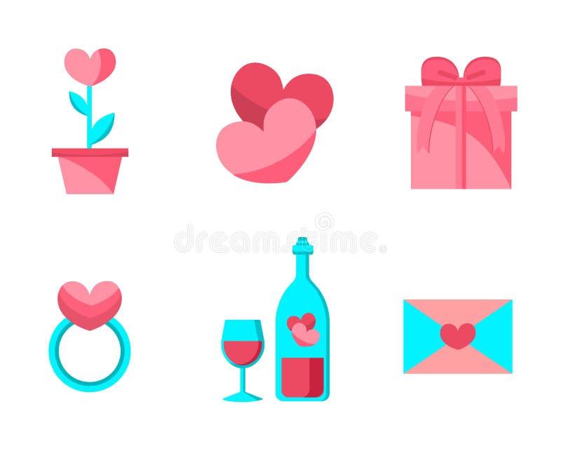 Valentine Day Objects Set feliz Projeto liso Coleção de artigos do casamento do amor ilustração do vetor