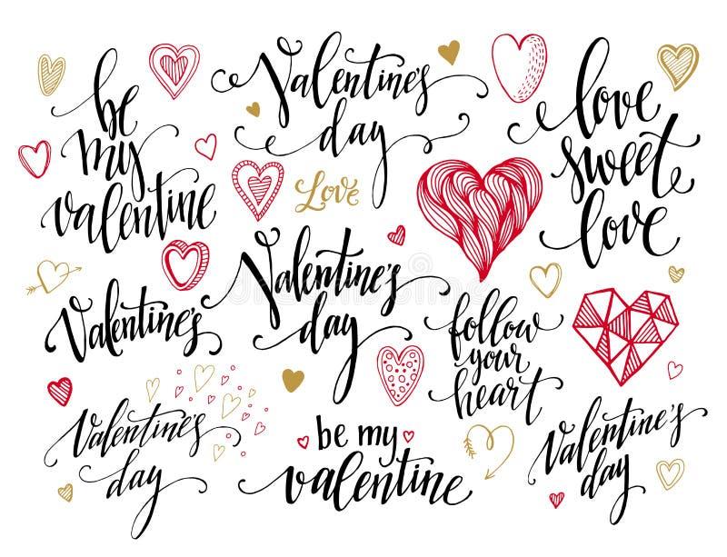 Valentine Day och förälskelse som märker samlingen stock illustrationer