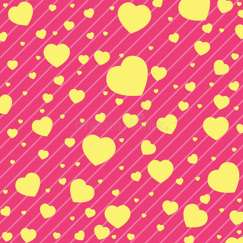 Valentine Day och gul hjärta på rosa bakgrund VektorValentine Day bakgrund stock illustrationer