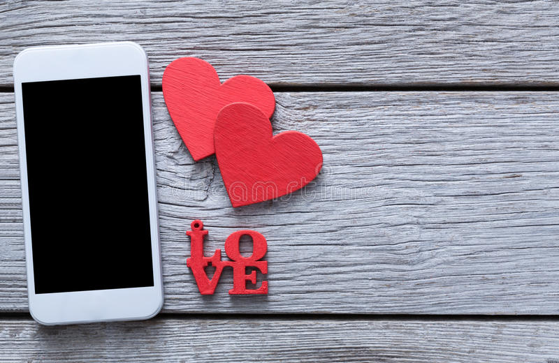 Valentine day online shopping background with copy space royalty free stock image