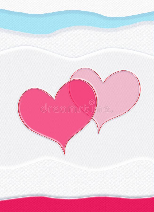 Valentine day pattern. Couple of the hearts on white paper and blue pink stripes textured background. Background for Greeting card with pink shapes of the royalty free illustration