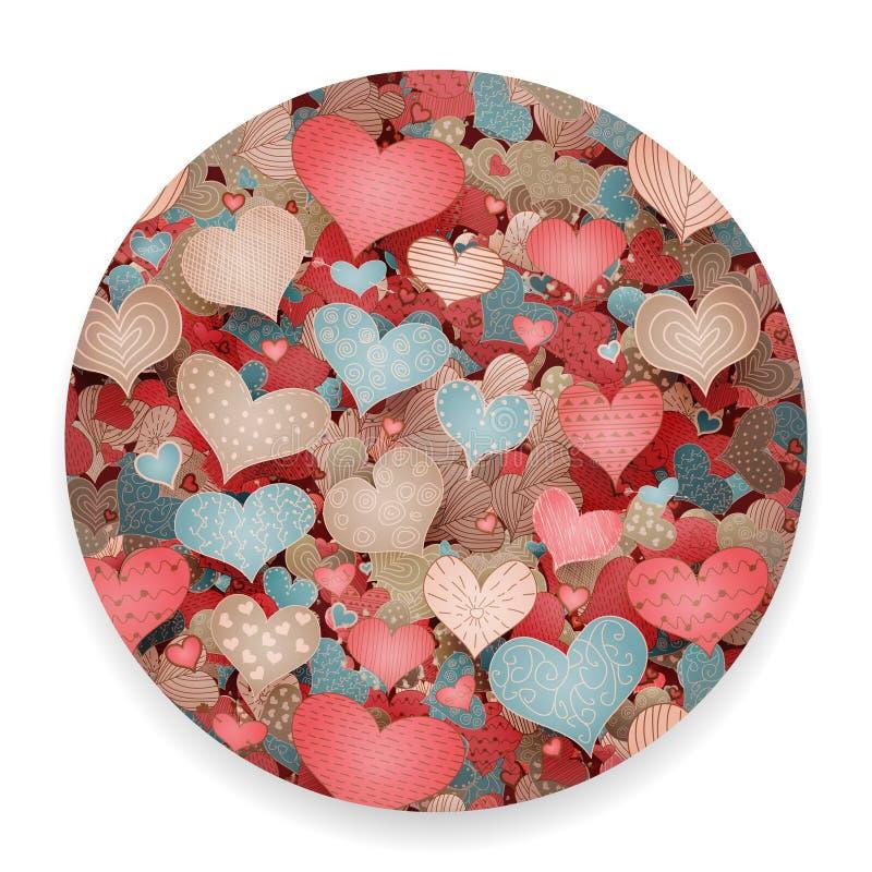 Valentine Day Pattern Sketch Romantic-Retro de Krabbelspictogrammen van Liefdeharten Geplaatst Geïsoleerde Vectorillustratie royalty-vrije illustratie