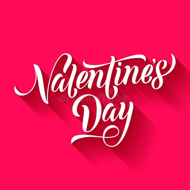 Valentine Day pica o cumprimento do vetor da caligrafia do texto do amor do coração do cartão ilustração royalty free