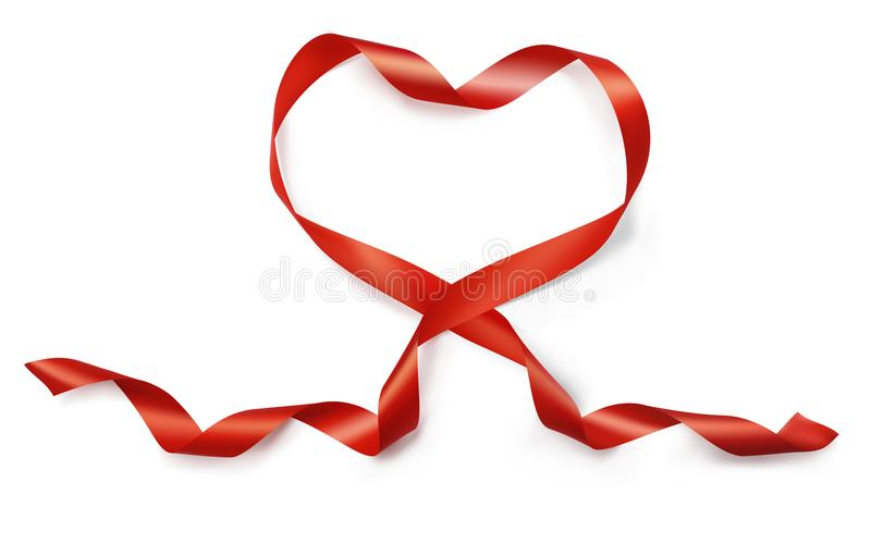 Valentine Day realistic heart from red silk ribbon vector on white background for greeting card for wedding.  vector illustration