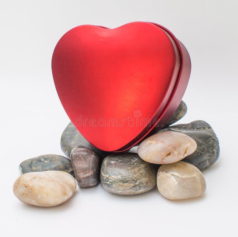 Valentine Day Red Heart Box royaltyfri bild