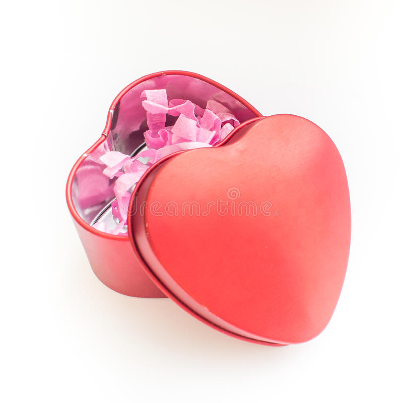 Valentine Day Red Heart Box isolerade på vit arkivbild