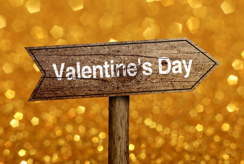 Valentine Day Road Sign imagenes de archivo