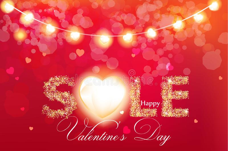 Valentine day sale banner in glitter Vector realistic. Red vintage lights template. Text with glowing lights. Soft bokeh stock illustration