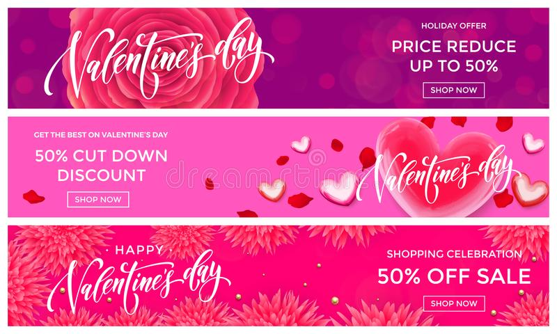 Valentine Day sale banners design template. Vector red heart on pink flowers background for Valentines fashion shopping season sal vector illustration