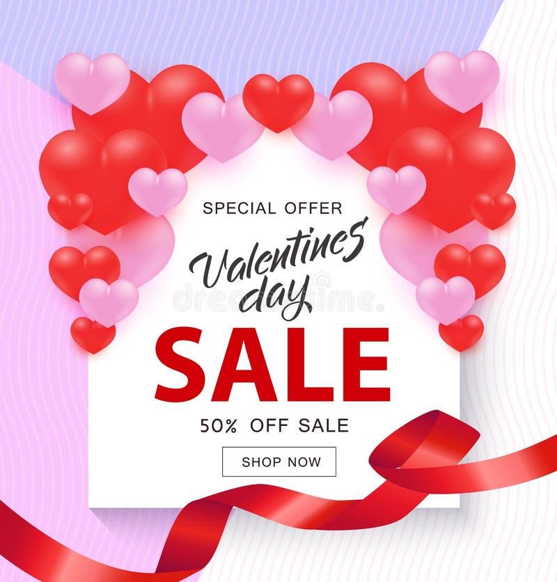 Valentine Day Sale-Fahne mit Zeichen auf weißer Form mit den roten und rosa Herzen und Band lizenzfreie abbildung