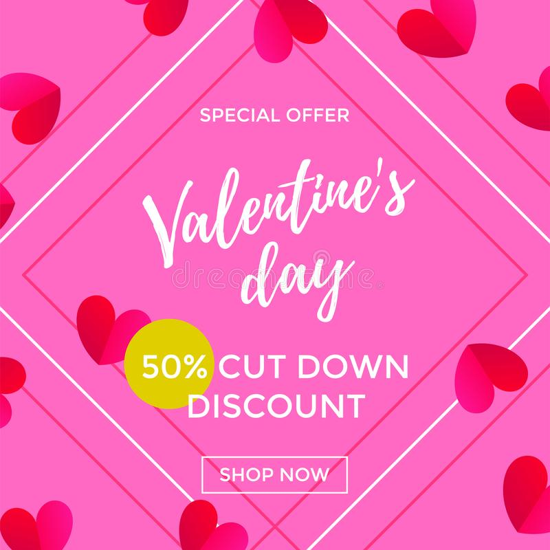 Valentine Day sale of red paper hearts pattern on pink frame background and discount calligraphy text design template. Vector post royalty free illustration