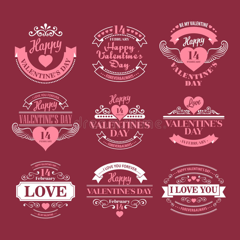 Valentine day Set of typography elements with vector illustration