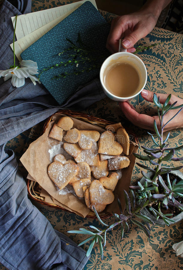 Valentine day shortbread heart-shaped royalty free stock image