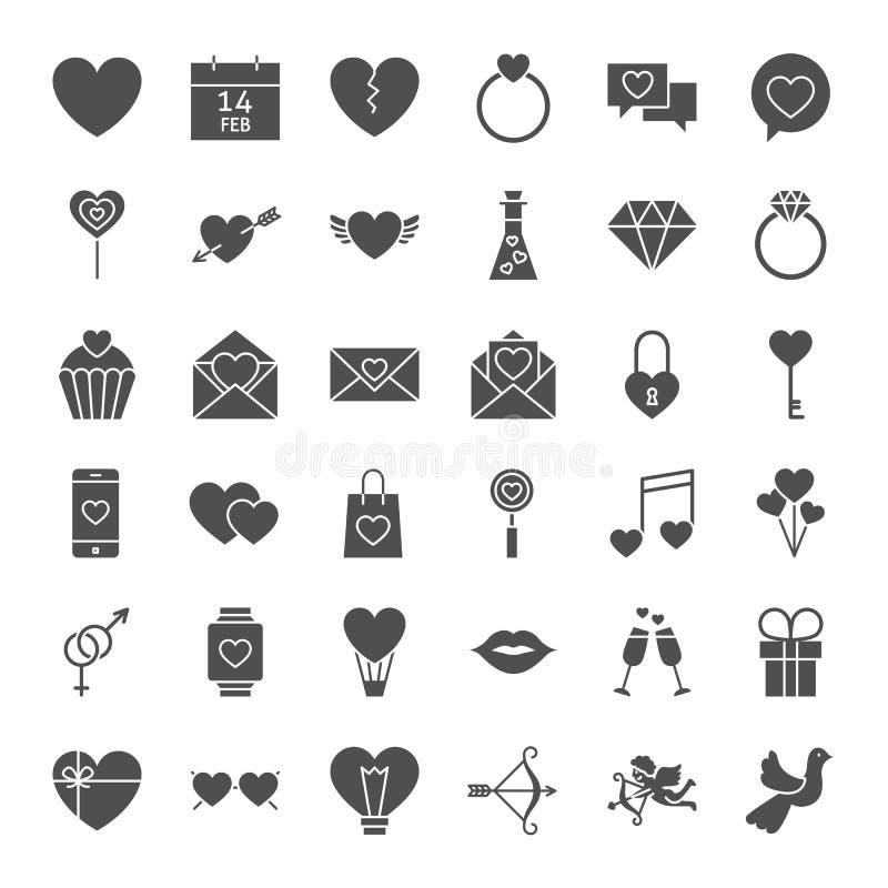Valentine Day Solid Web Icons vector illustratie
