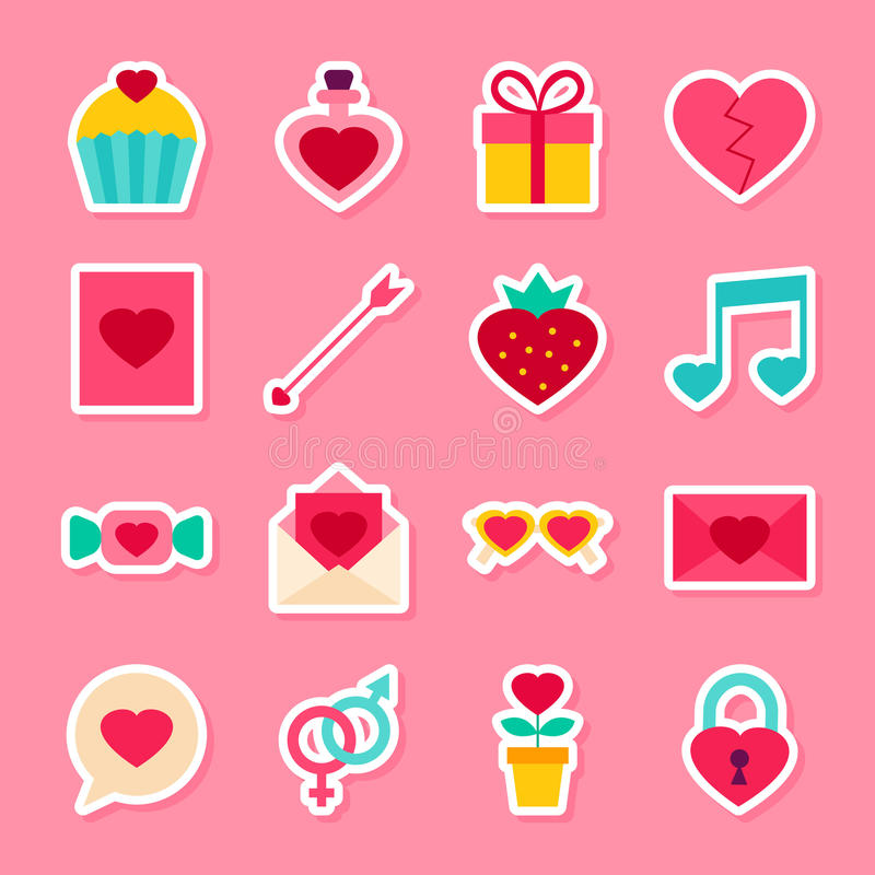 Valentine Day Stickers ilustración del vector