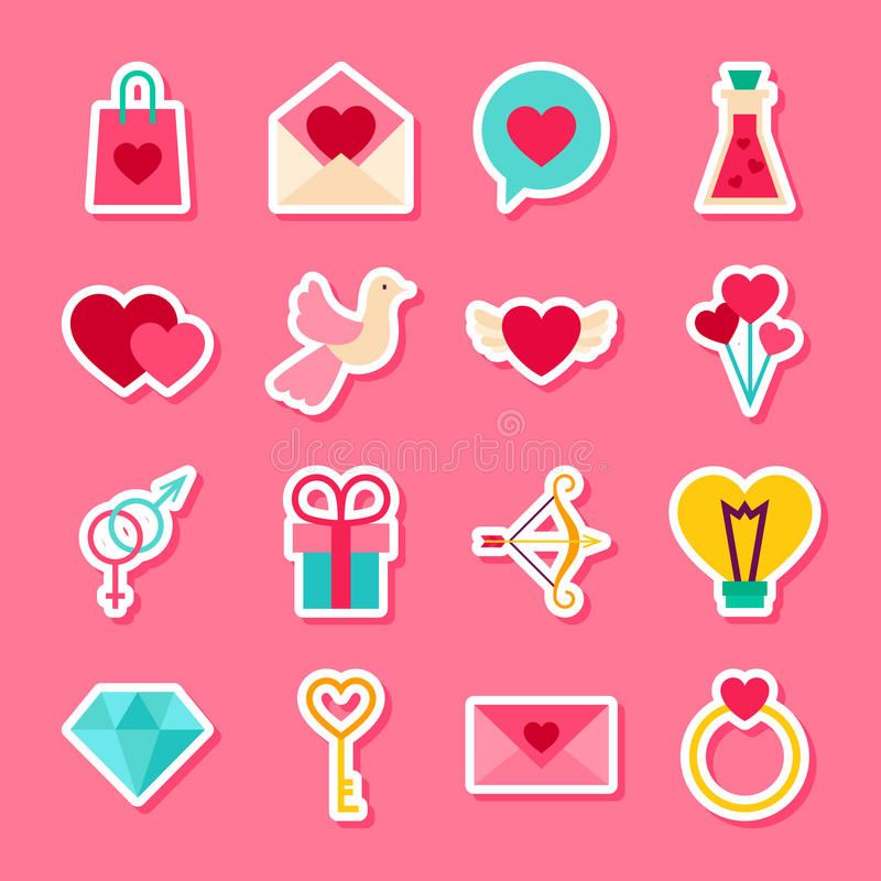 Valentine Day Stickers felice illustrazione di stock