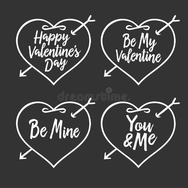 Download Valentine Day Typography Badges Set. All Lovers Holiday Quotes. Vector Vintage Illustration. Stock Vector - Image: 83718643