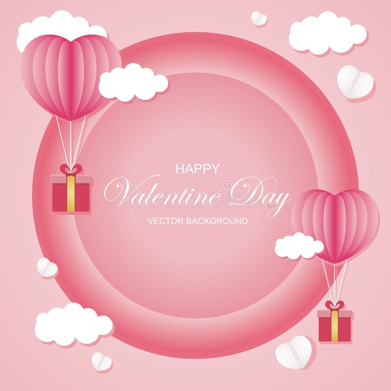 Valentine day Vector background lovely and stylish design. With heart balloon and gift box and lovely abstract background, suitable for banner, flyer stock illustration