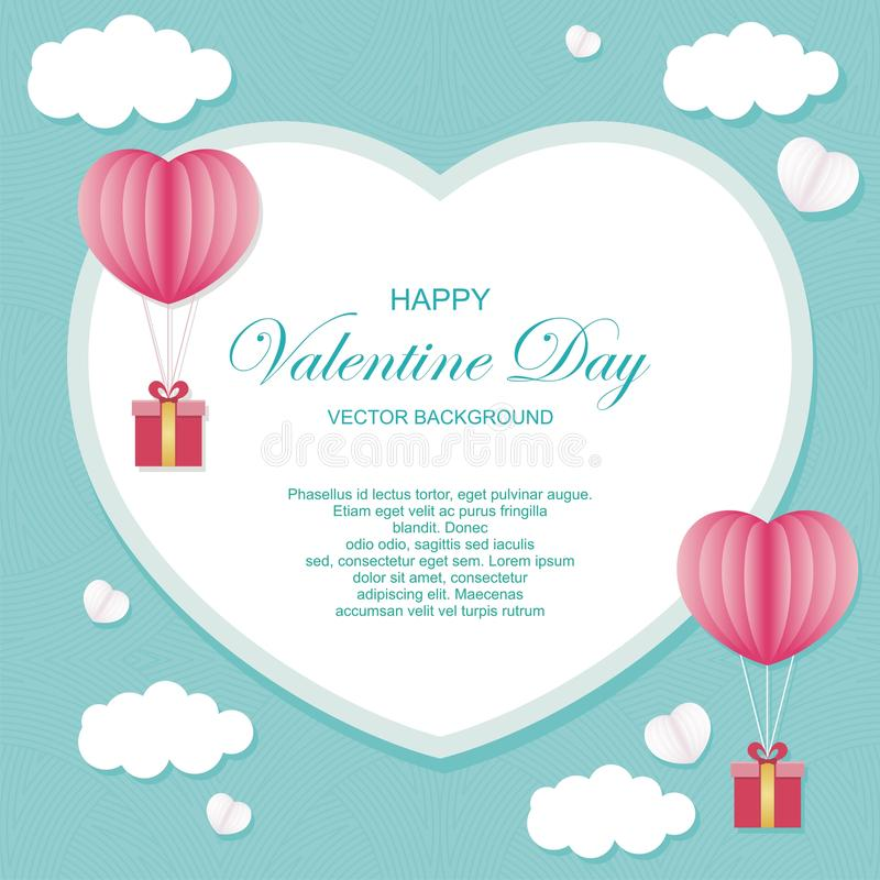 Valentine day Vector background lovely and stylish design. With heart balloon and gift box and lovely abstract background, suitable for banner, flyer royalty free illustration