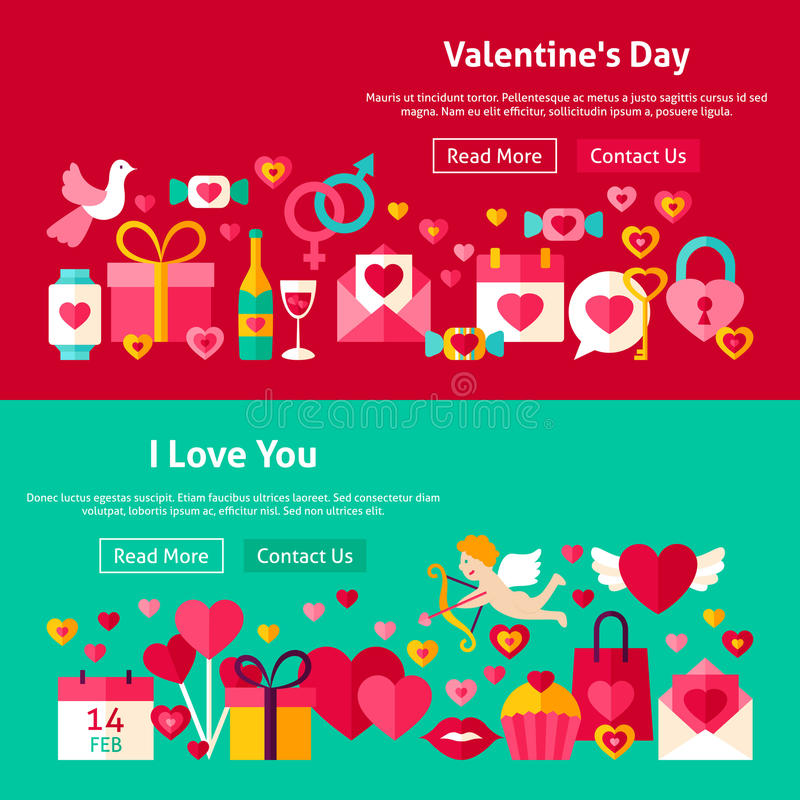 Valentine Day Website Banners felice illustrazione vettoriale