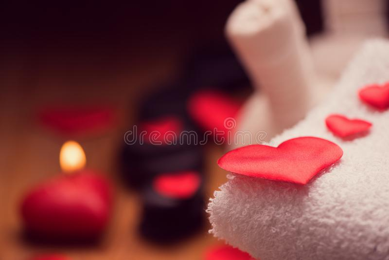 Valentine day. Wellness decoration. Setting spa royalty free stock images