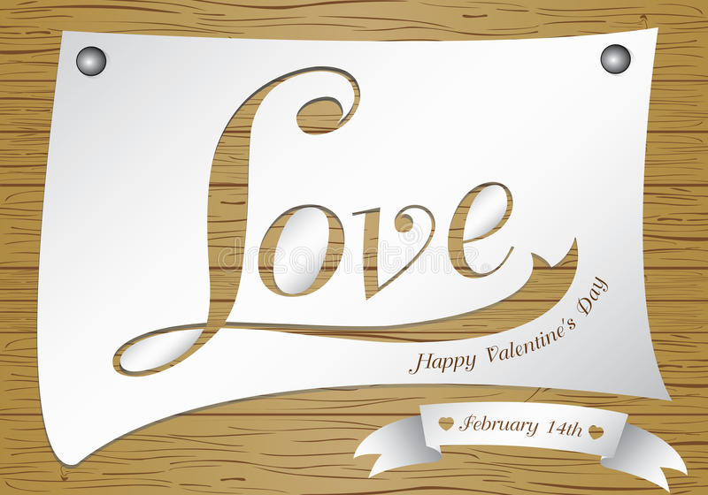 Valentine Day on wooden background. Vector love in white paper on brown wood floor texture background. Valentines Day on vector. Valentine Day on wooden stock illustration