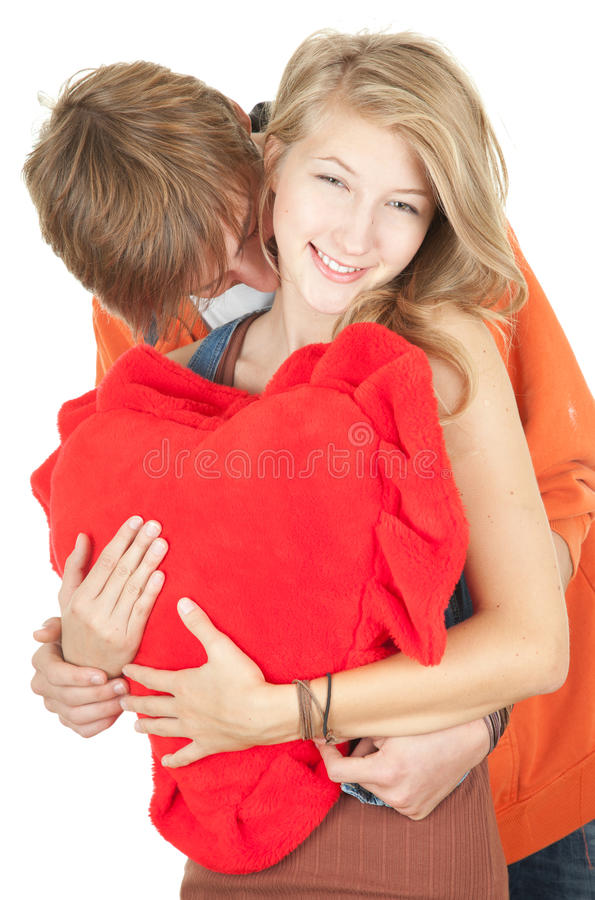 Download Valentine Day Young Couple With Red Heart Stock Photo - Image: 21732614