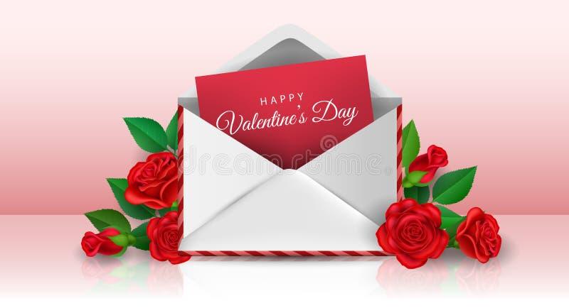 Valentine-de liefdebrief met nam toe vector illustratie