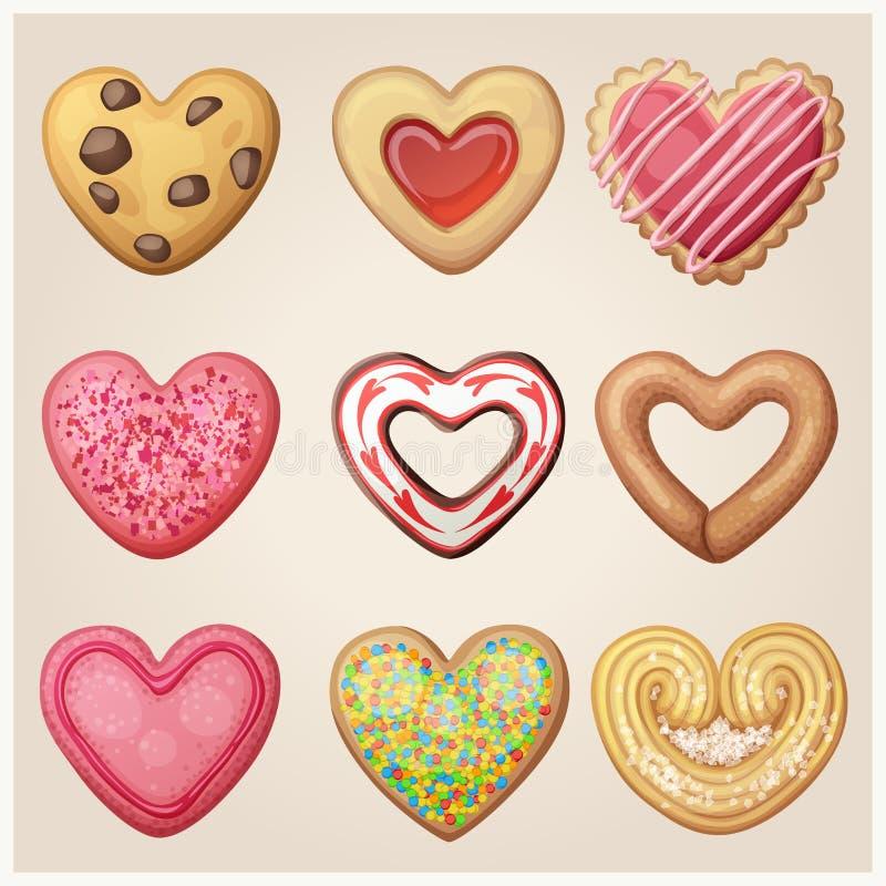 Valentine-de reeks van het dagkoekje Hart gevormd gebakje royalty-vrije illustratie