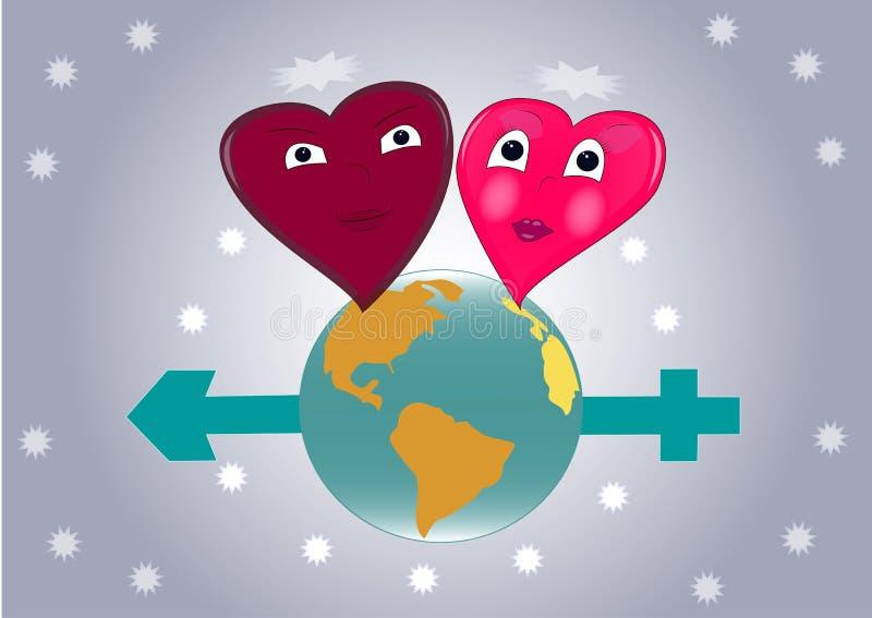 Valentine, deux coeurs dans l'amour sur le globe photographie stock libre de droits