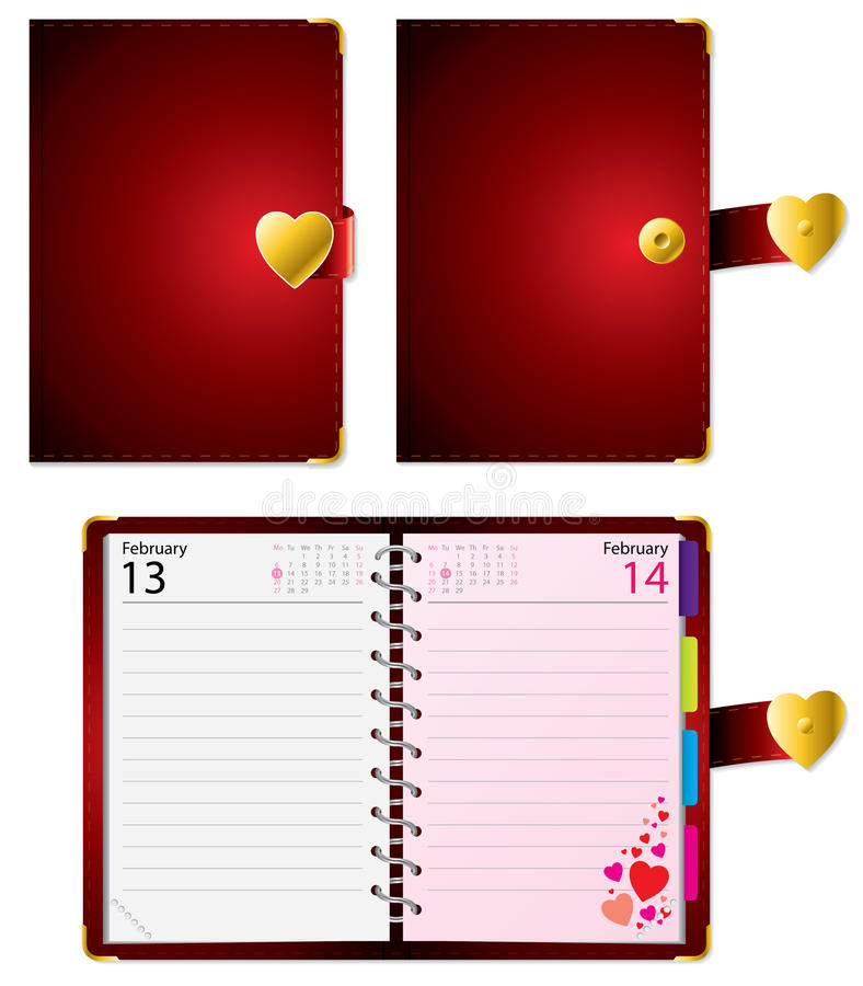 Valentine diary. Love diary closed and open with date stock illustration