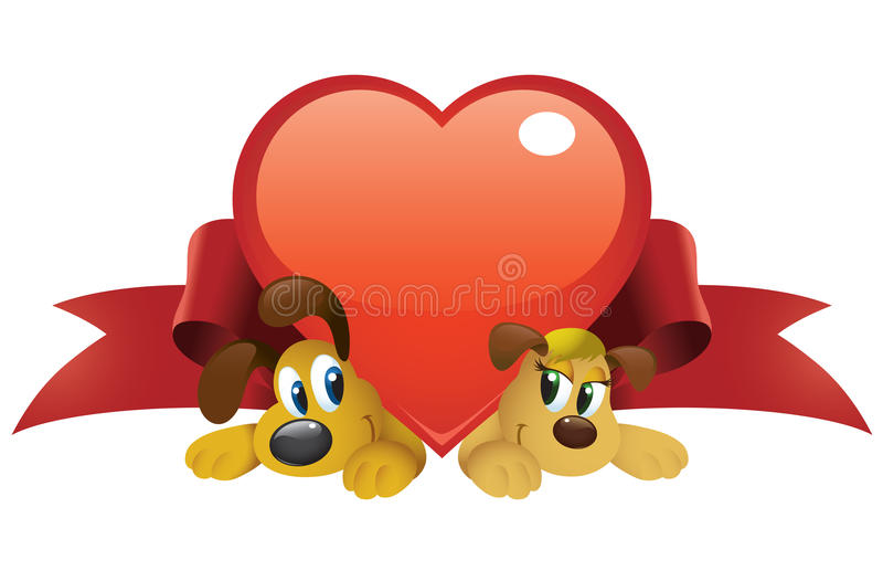 Valentine Dogs royalty free illustration