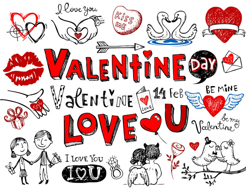 Valentine doodles. Valentine doodle set, Hand-drawn icons. Vector illustration stock illustration