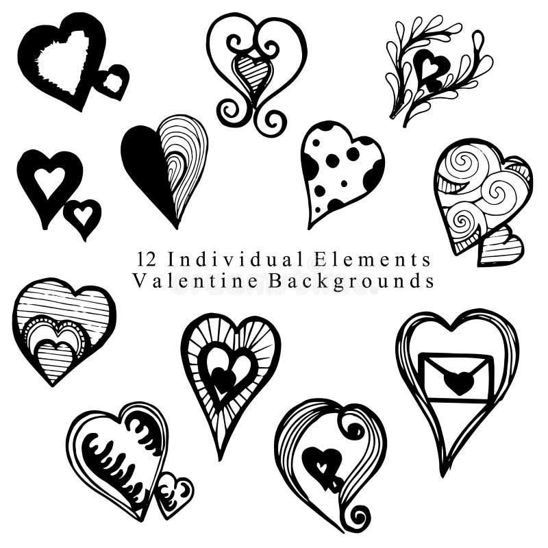 Valentine Elements Collection tiré par la main photo stock