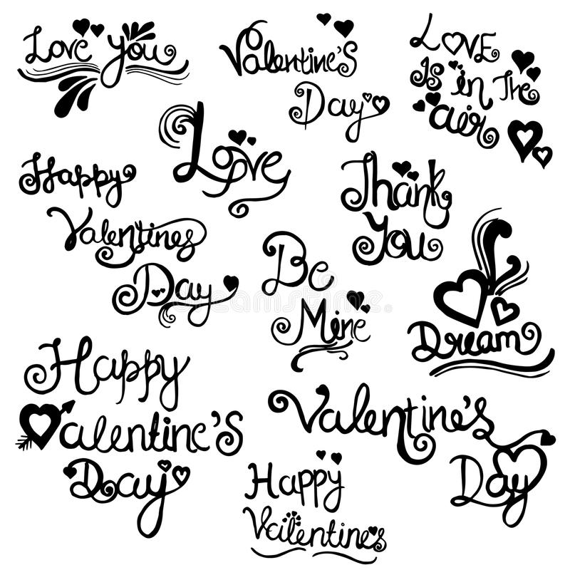 Valentine Elements Collection tiré par la main images stock