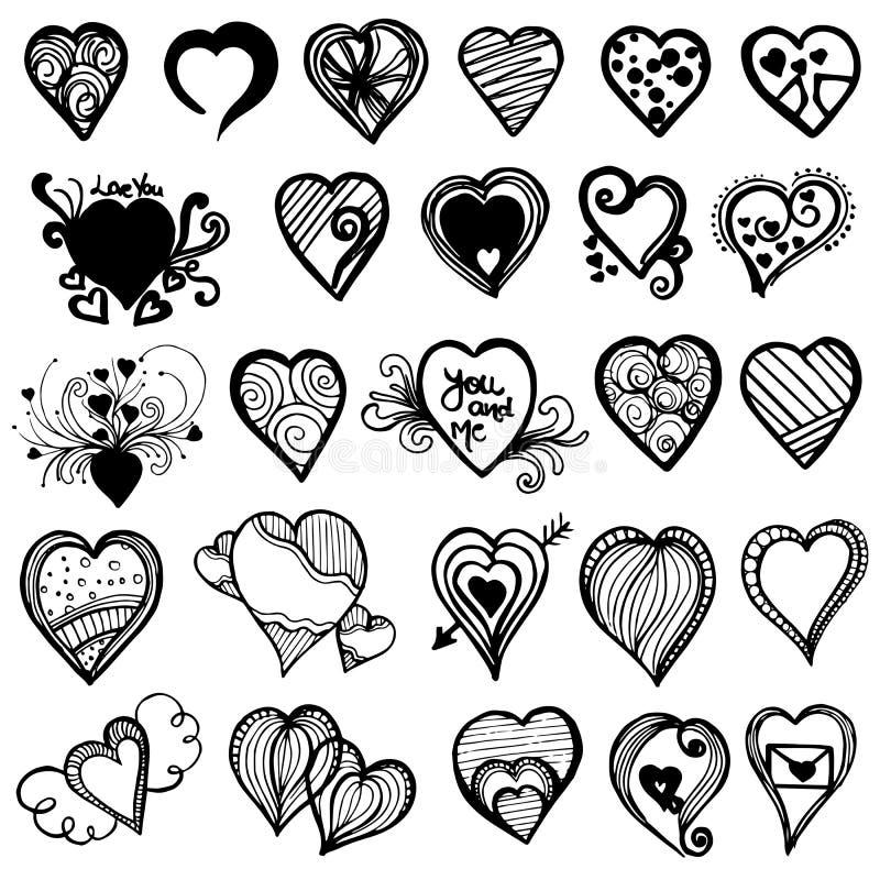 Valentine Elements Collection tiré par la main photos stock