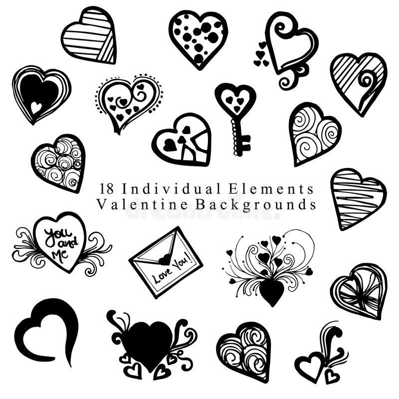 Valentine Elements Collection tiré par la main photos libres de droits