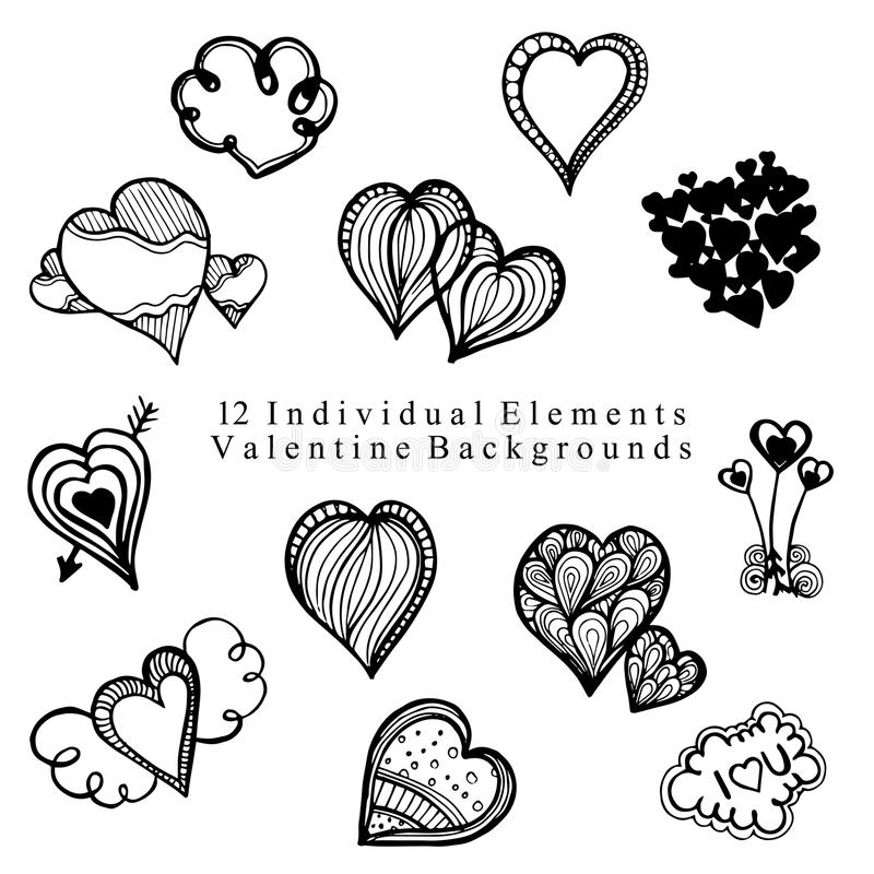 Valentine Elements Collection tirado mão fotografia de stock royalty free