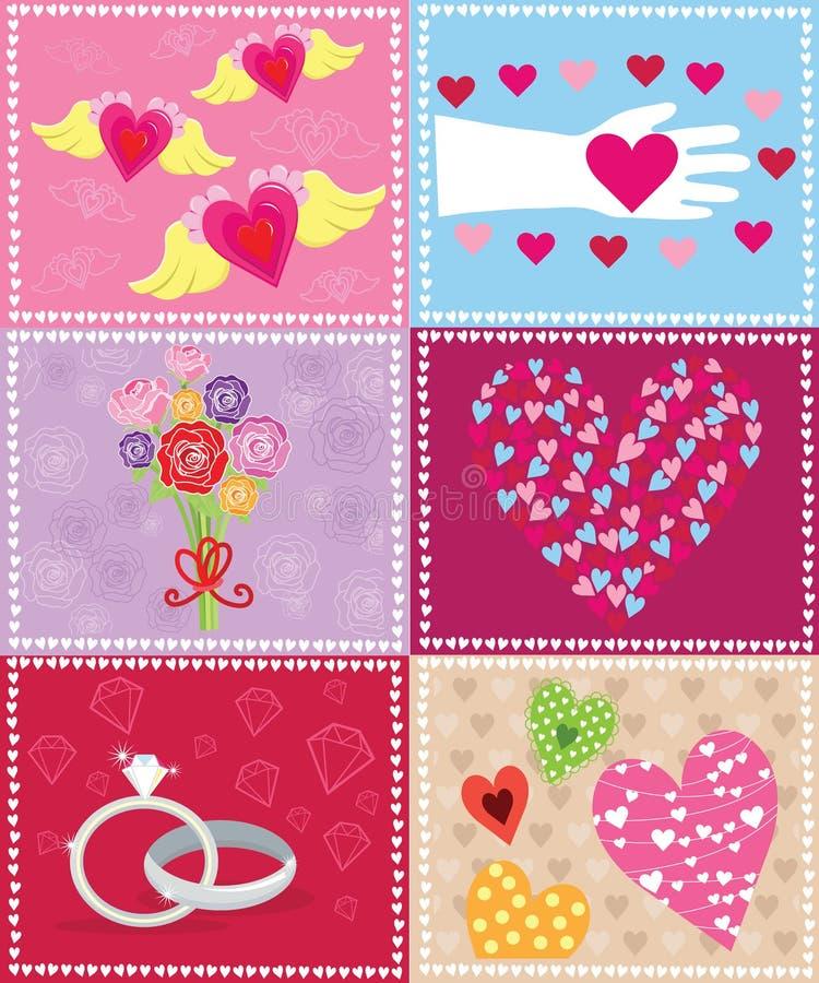 Valentine Elements retro ilustração do vetor