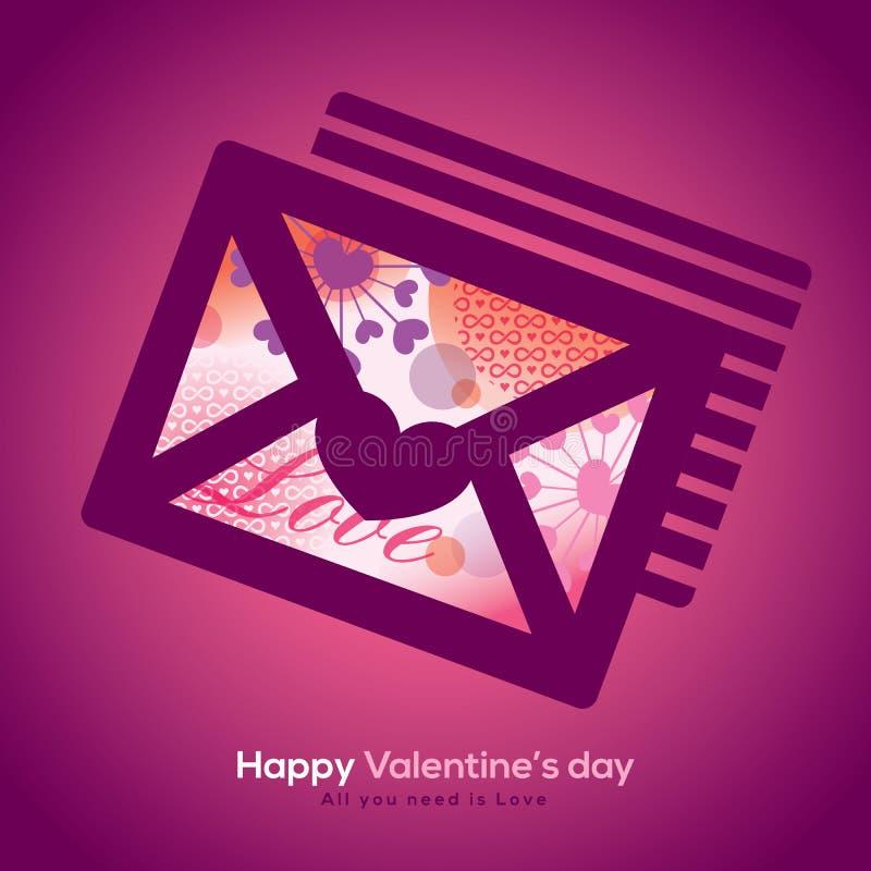 Valentine en huwelijksenvelop met collageillustratie stock illustratie