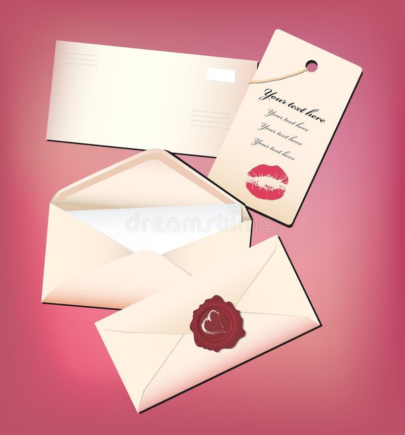 Valentine enveloppent et cardent illustration de vecteur