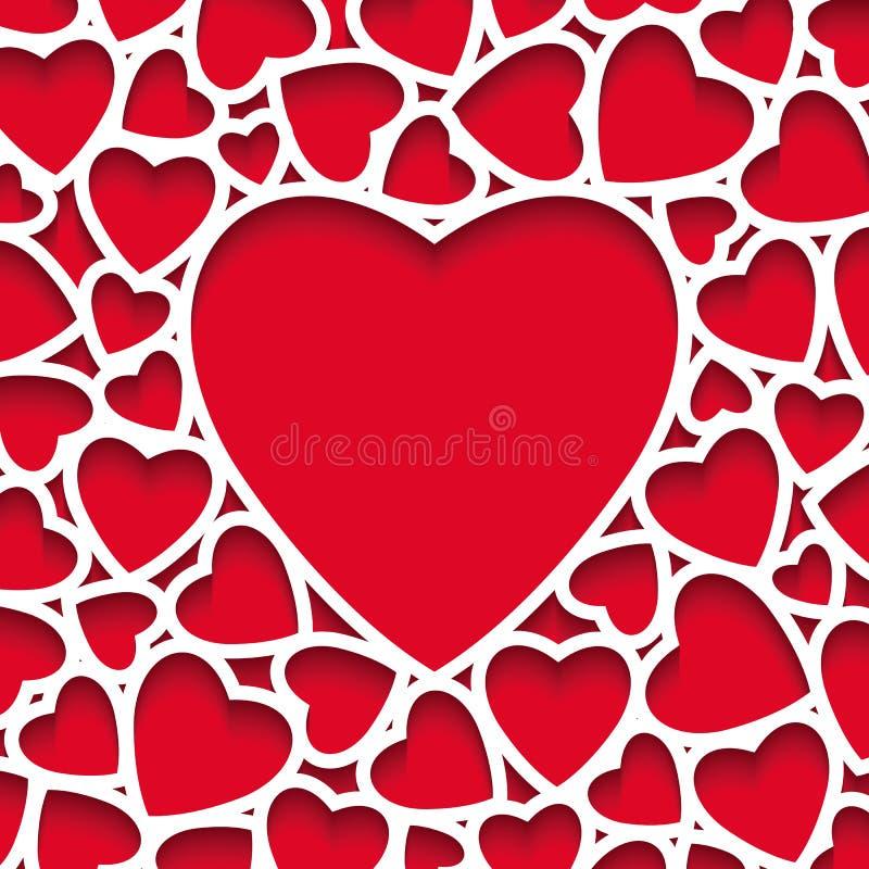 Valentine est la carte de voeux de jour, coeurs de papier avec l'ombre sur le fond rouge illustration libre de droits