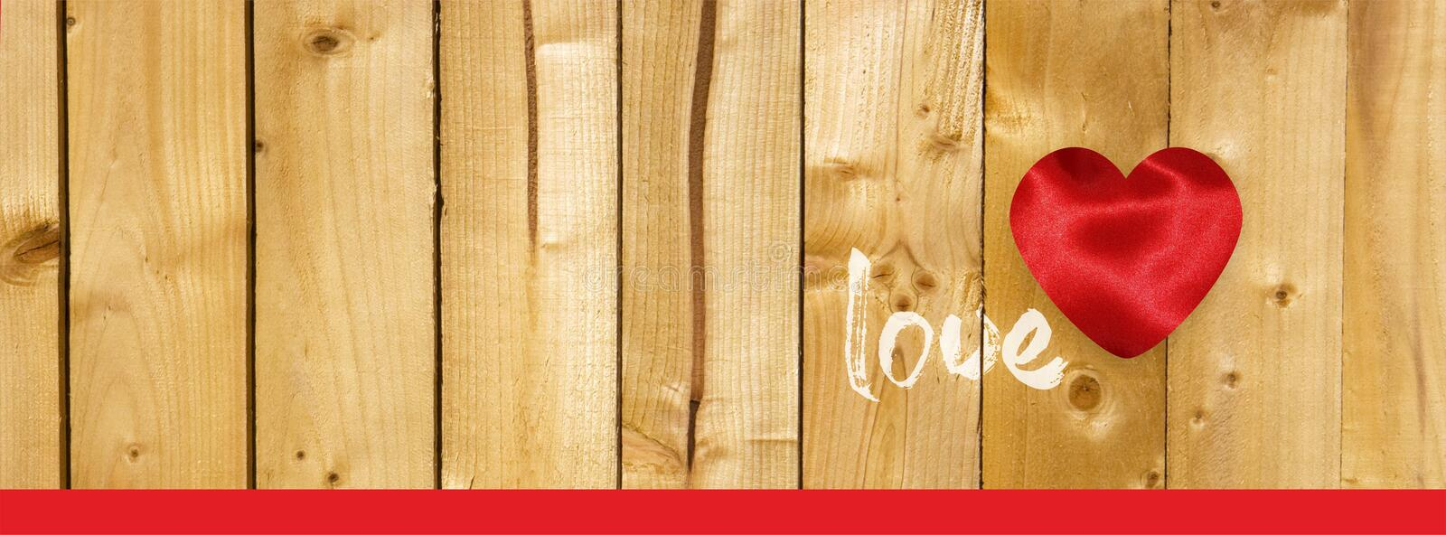 Valentine Facebook cover with hearts on  wooden planks background stock illustration