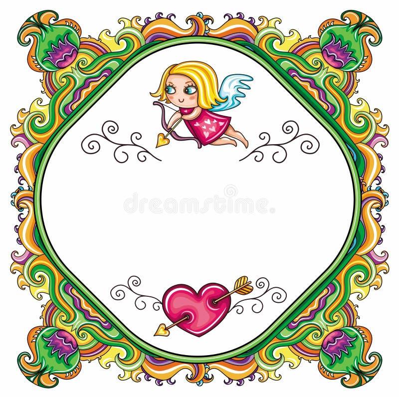 Valentine \ 'farme floral de dessin animé de jour de s illustration libre de droits